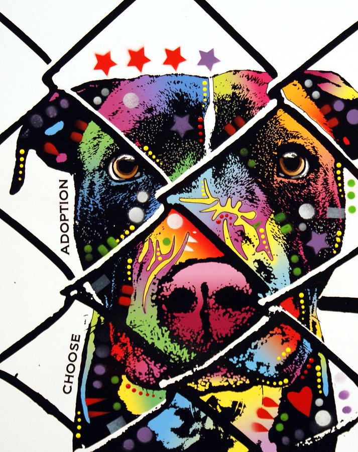 Dog Painting - Choose Adoption Pit Bull by Dean Russo