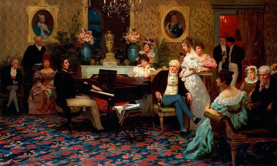 Piano Painting - Chopin Playing The Piano In Prince Radziwills Salon by Hendrik Siemiradzki