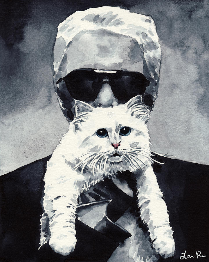 Choupette Cat And Karl Lagerfeld Painting By Laura Row