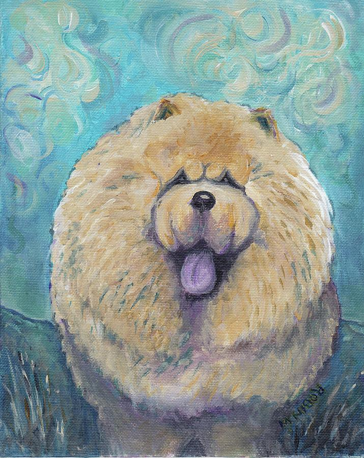 Chow Painting - Chow In A Field by Robin Wiesneth