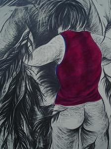 Chowhound Red Top Drawing by Hyon Joo Kim