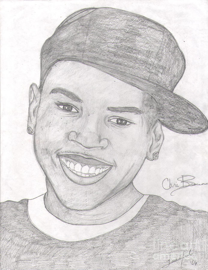 Celebrity Portrait Drawing - Chris Brown by Tavian Ford