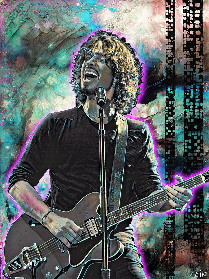 Chris Cornell Painting - Chris Cornell - Outshined by Bobby Zeik