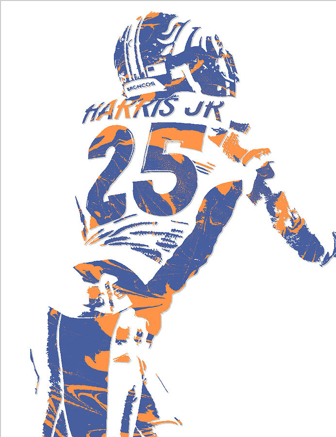 Chris Harris Jr Denver Broncos Pixel Art 2 Mixed Media by Joe Hamilton