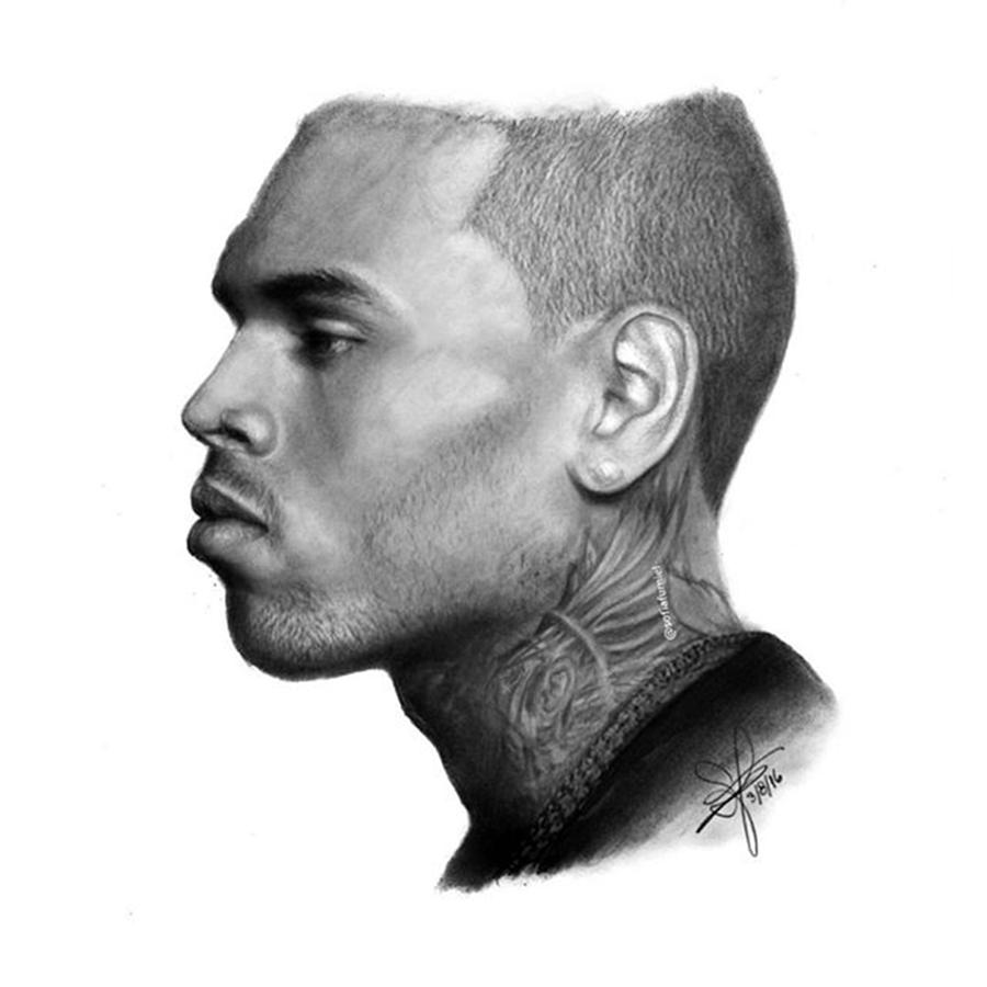 Portrait Drawing - Chris Brown Drawing By Sofia Furniel by Jul V