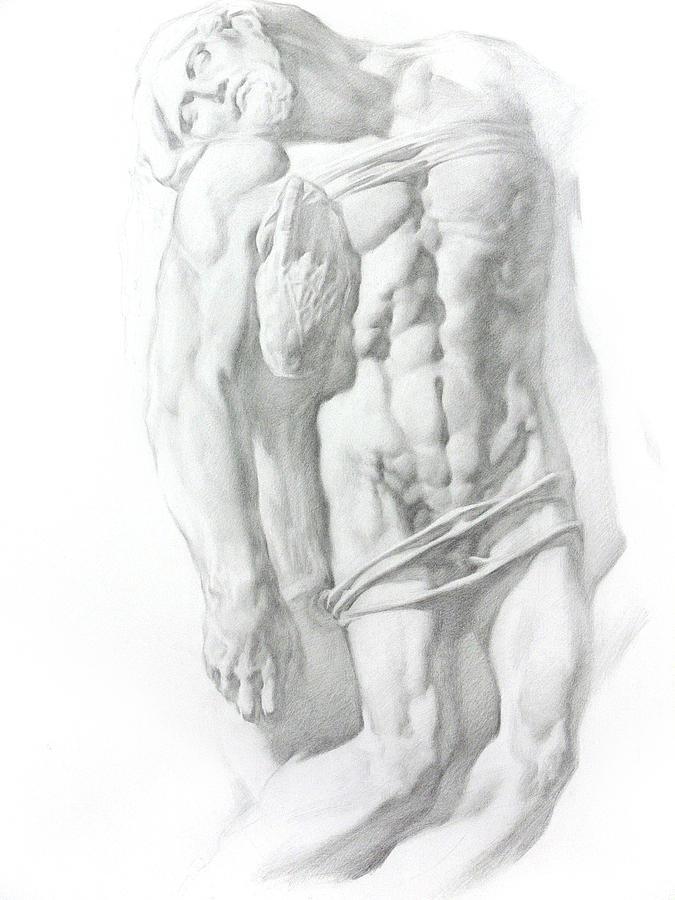 Nude Drawing - Christ 1 by Valeriy Mavlo