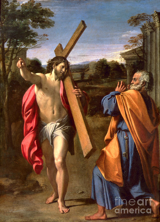 Christ Painting - Christ Appearing To St. Peter On The Appian Way by Annibale Carracci