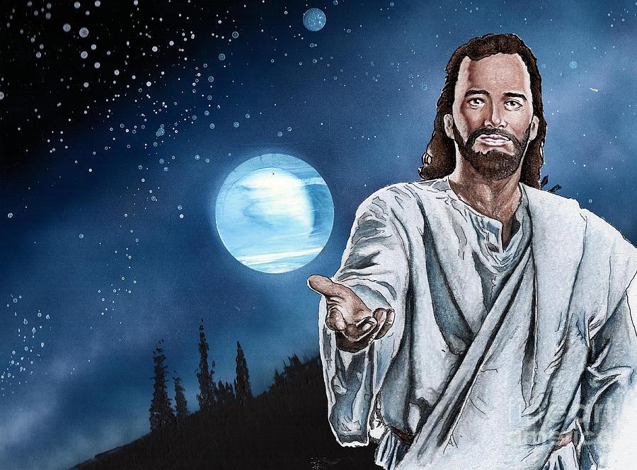 Christ Drawing - Christ At Night by Bill Richards