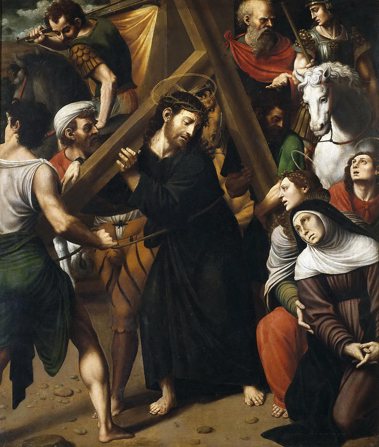 christ carrying the cross painting by vicente juan masip
