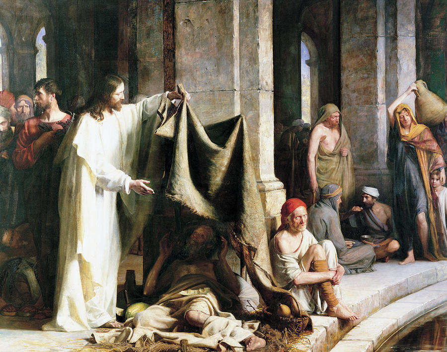 Christ christ and the man at the healing wel by Carl Heinrich Bloch