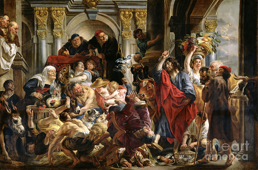 Christian Painting - Christ Driving The Merchants From The Temple by Jacob Jordaens
