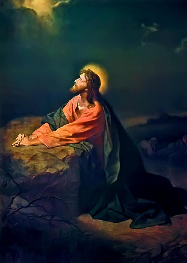 Christ In The Garden Print Painting - Christ In Garden Of Gethsemane by Heinrich Hofmann
