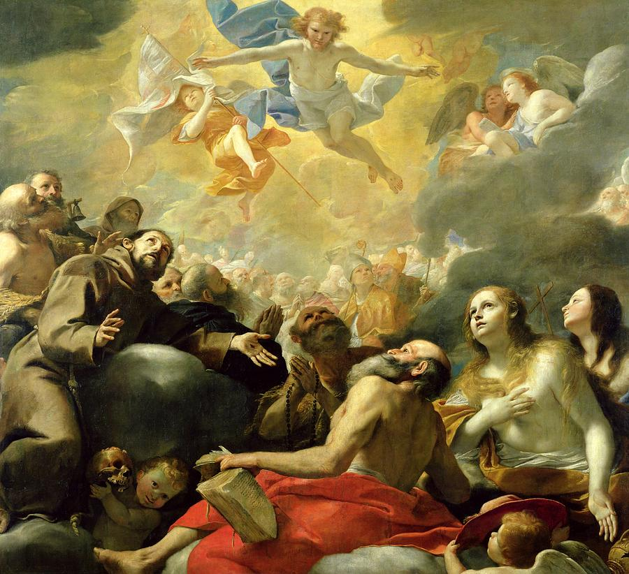 Christ In Glory With The Saints Painting By Mattia Preti