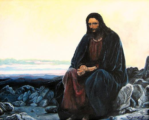 Christ In The Wilderness  Painting by David Perales