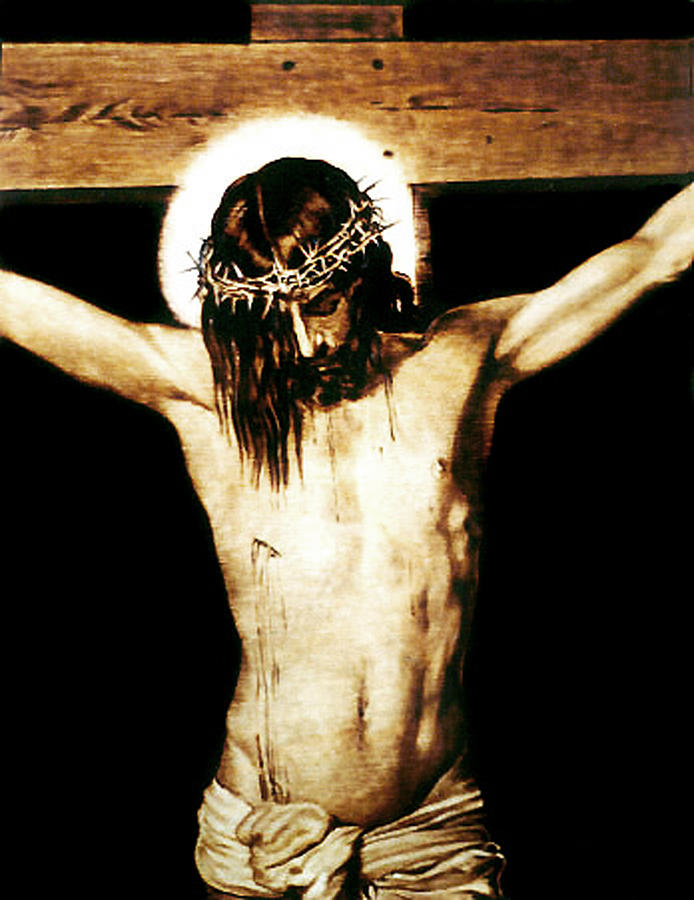 Dino Muradian Pyrography - Christ On The Cross - Detail by Dino Muradian