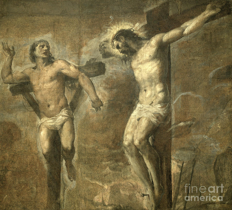 Titian Painting - Christ On The Cross And The Good Thief by Titian
