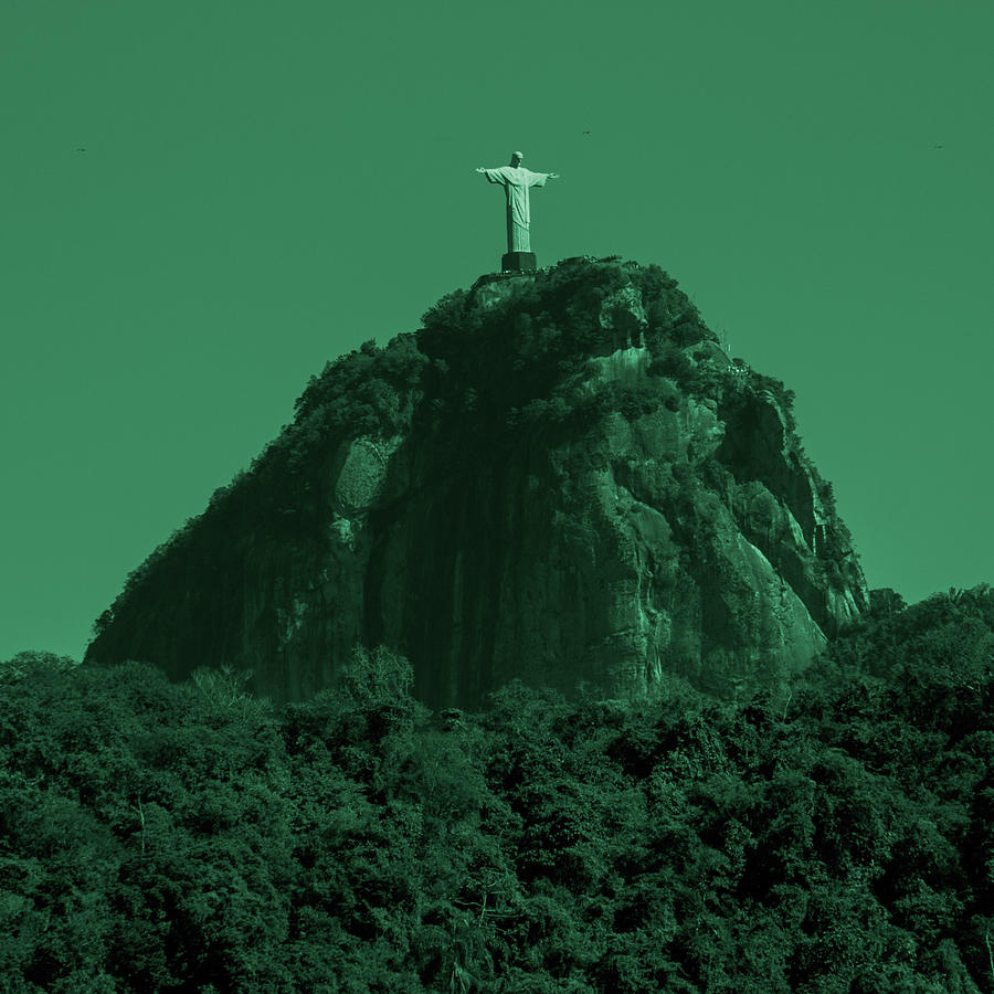 Interiors Photograph - Christ The Redeemer In Green Sky by Fabio Sola