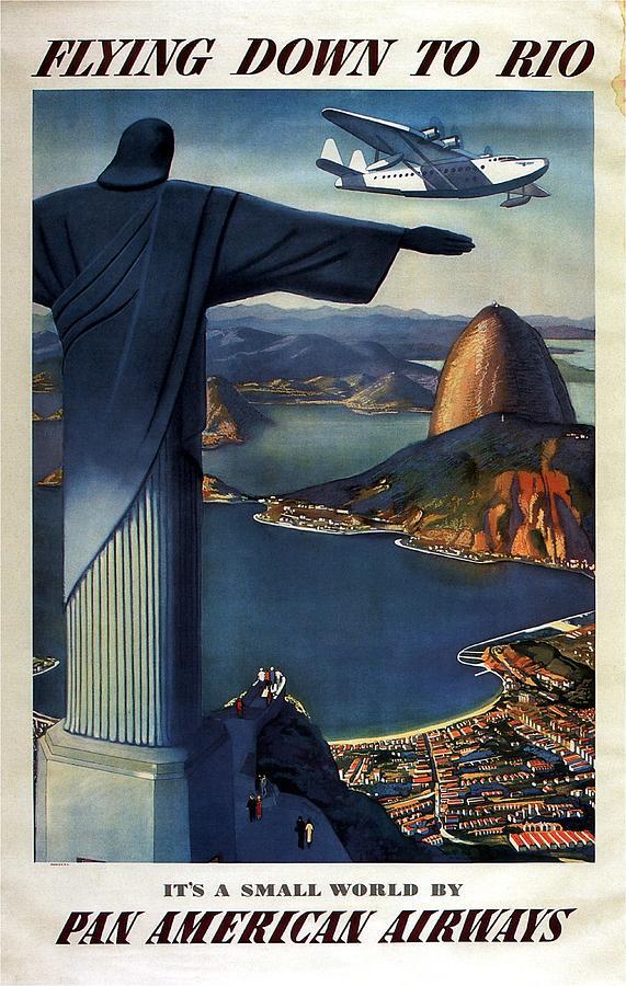 Christ The Redeemer, Rio, Brazil - Pan American Airways - Retro Travel Poster - Vintage Poster Photograph