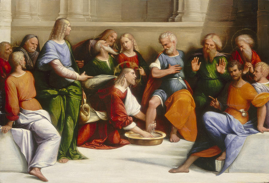 Jesus Painting - Christ Washing The Disciples Feet by Benvenuto Tisi