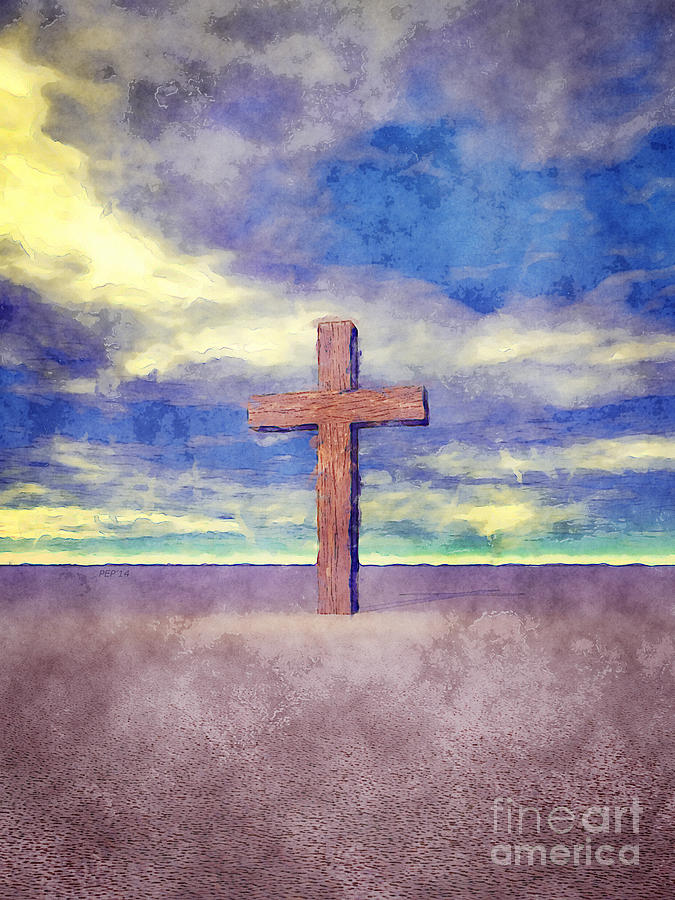 Religion Digital Art - Christian Cross Landscape by Phil Perkins