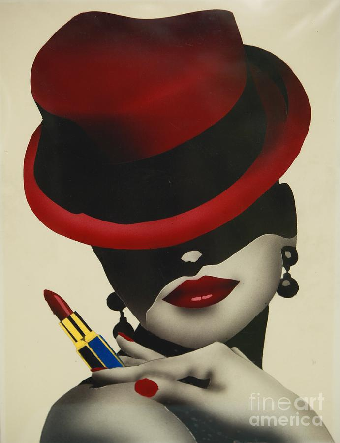 Hat Painting - Christion Dior Red Hat Lady by Jacqueline Athmann