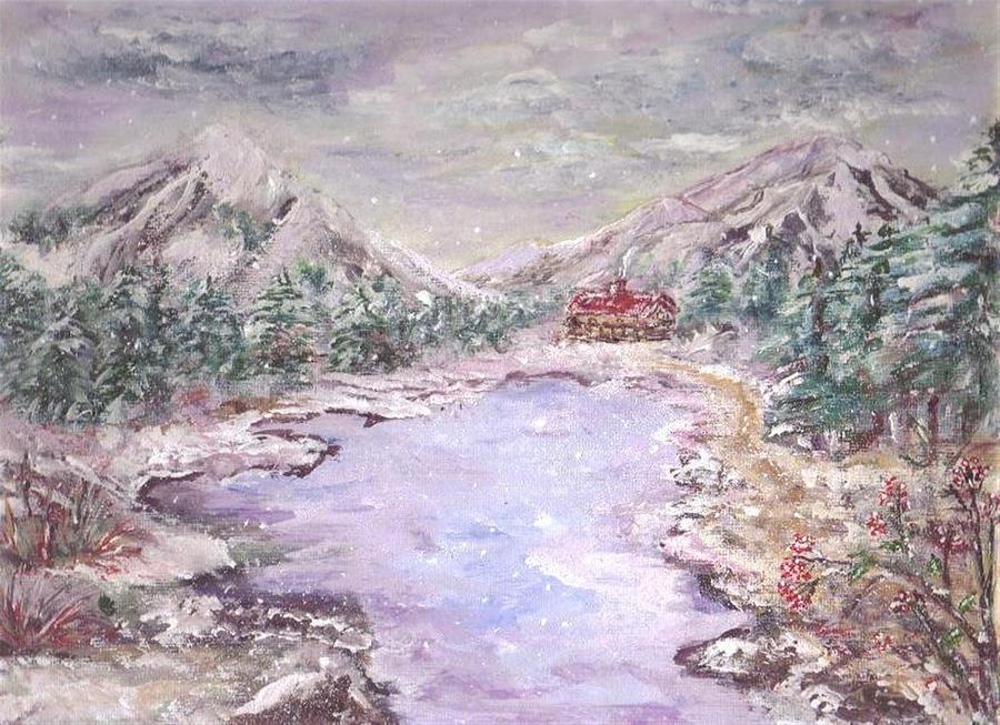 Christmas Card Painting - Christman In The Mountains  by Mary Sedici