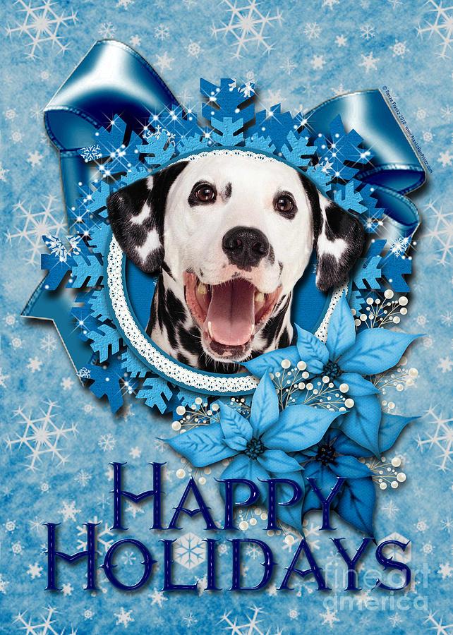 Dalmatian Digital Art - Christmas - Blue Snowflakes Dalmatian by Renae Crevalle