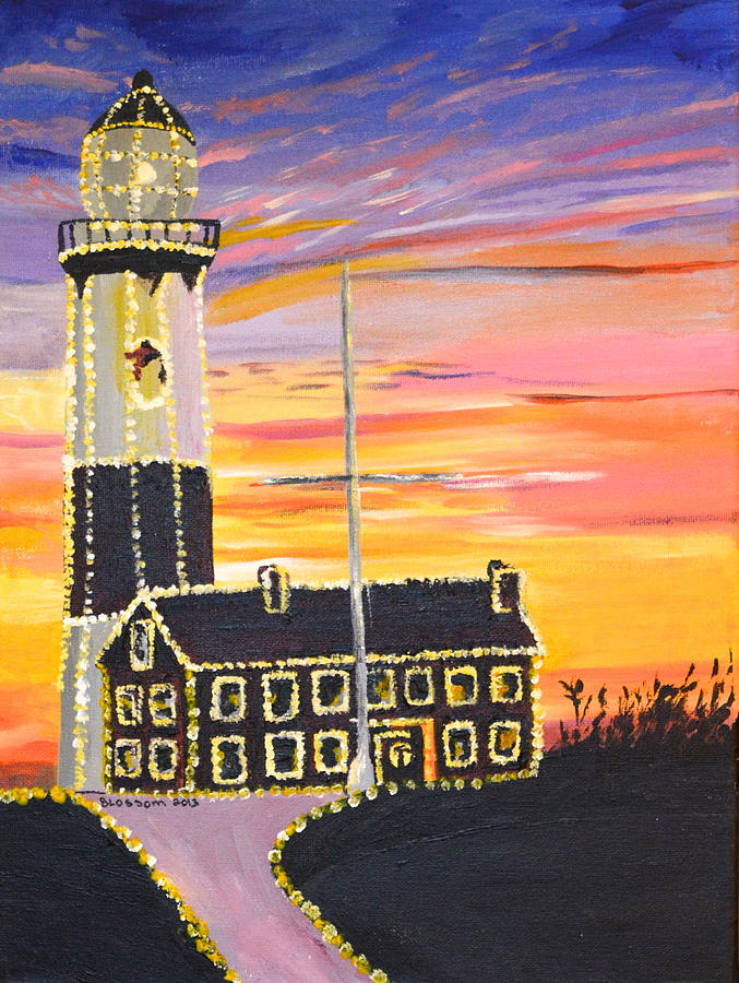 Acrylic Painting - Christmas At The Lighthouse by Donna Blossom