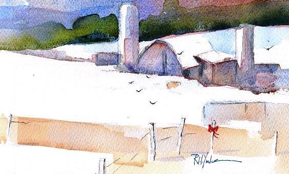 Winter Scene Painting - Christmas Barn  by Robert Yonke