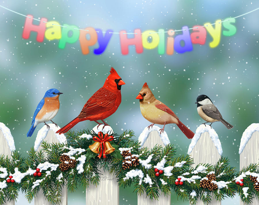 Birds Painting - Christmas Birds And Garland by Crista Forest