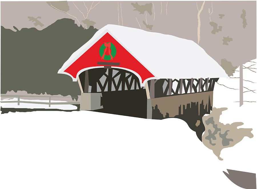 Covered Bridge Painting - Christmas Bridge by Marian Federspiel