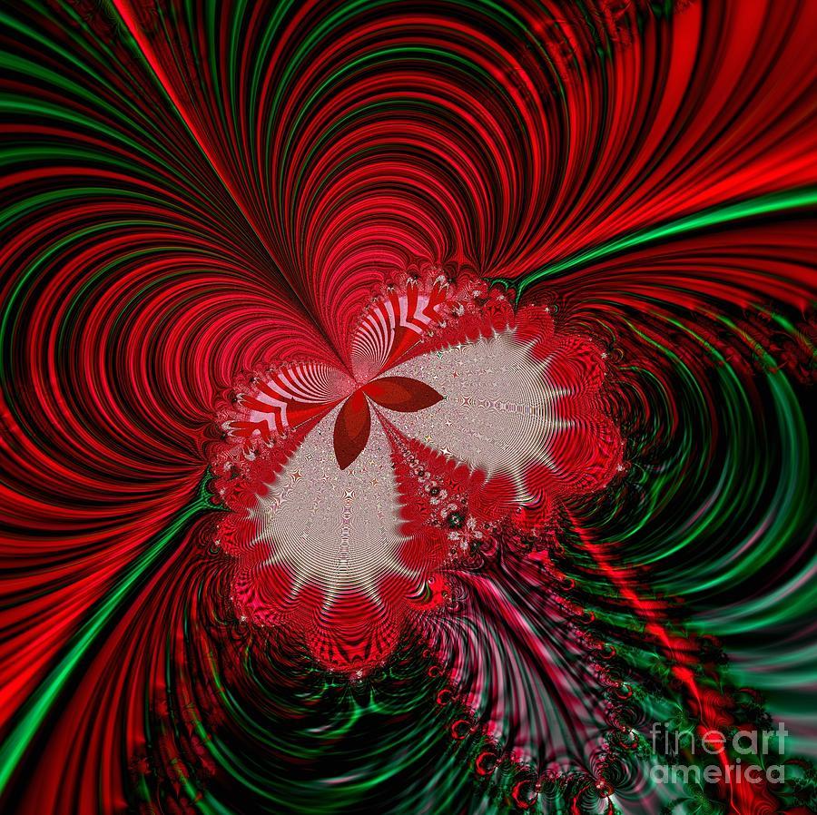 Fractals Digital Art - Christmas Butterfly Fractal 63 by Rose Santuci-Sofranko