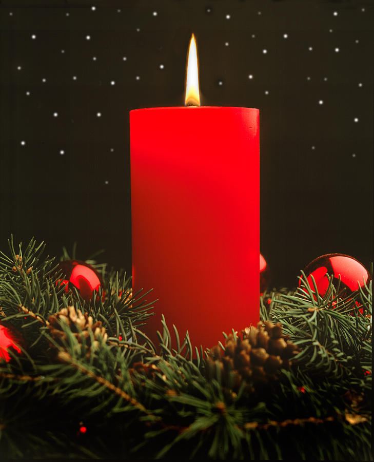 Christmas Candle Photograph by Douglas Pulsipher
