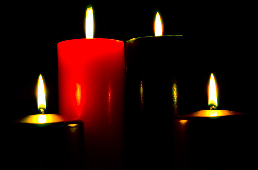 Christmas Photograph - Christmas Candles 7a by Steve Ohlsen