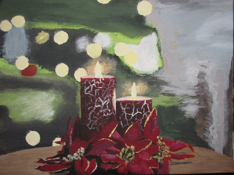 Christmas Wall Decor Michaels : Christmas candles painting by michael cook