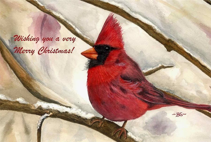 Christmas Painting - Christmas Card Cardinal by Bonnie Schallermeir
