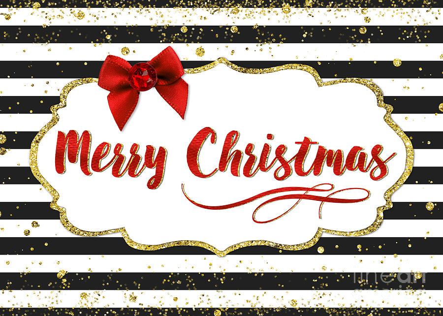 Christmas Card Merry Christmas Red Bow Black And White Stripes