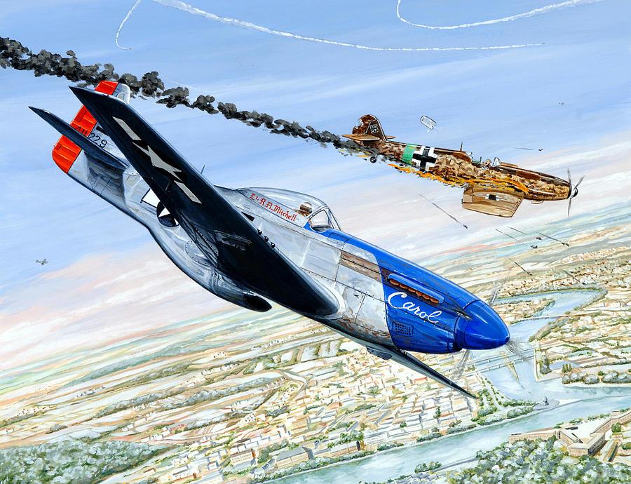 P-51 Mustang Painting - Christmas Carol by Charles Taylor