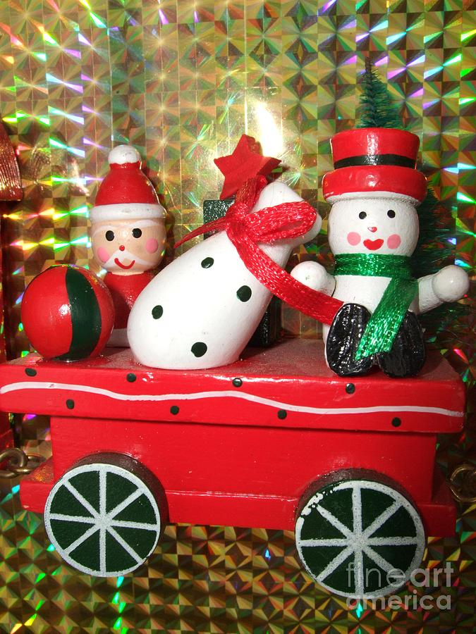 Red Photograph - Christmas Cart by Deborah Brewer