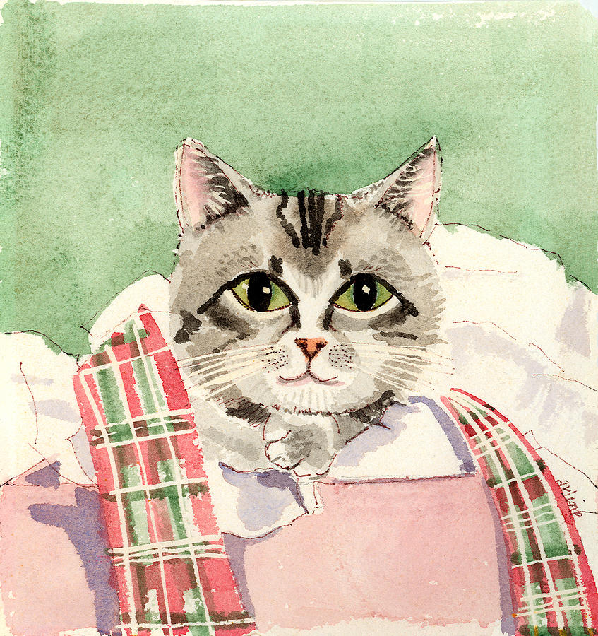 Cat Painting - Christmas Cat by Arline Wagner
