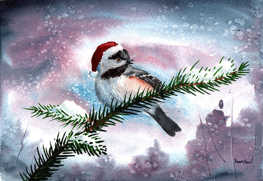 Birds Painting - Christmas Chic by Sean Seal