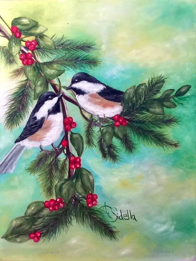 Christmas Chickadees by Annamarie Sidella-Felts