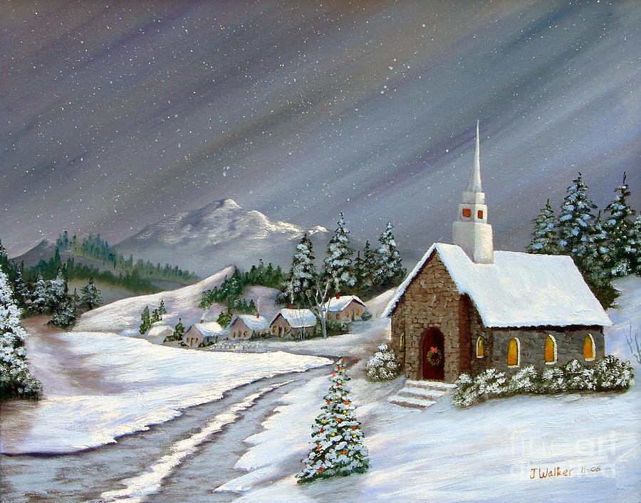 snowy church and xmas - photo #7