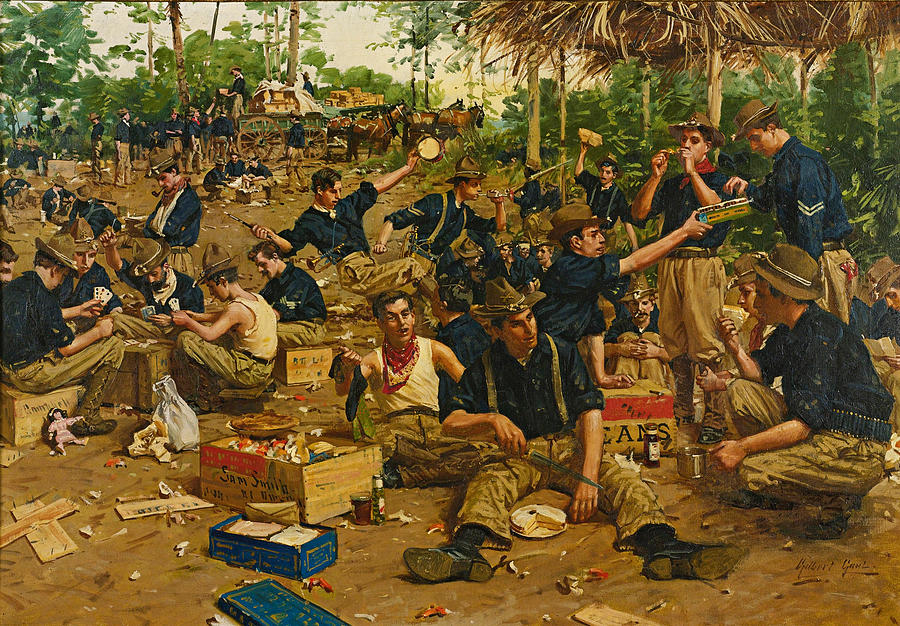Christmas Day In Camp Painting By Gilbert Gaul
