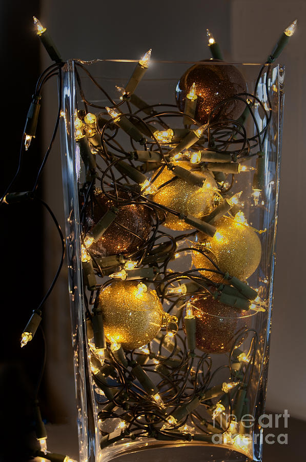 abstract photograph christmas decoration and lights in glass vase by patricia hofmeester - How To Decorate Glass Vases For Christmas