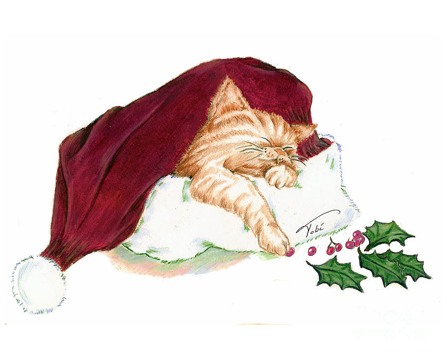 Kitty Painting - Christmas Dreamer by Tobi Czumak