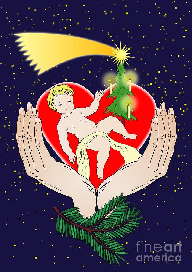 Christmas Digital Art - Christmas Eve- Nativity by Michal Boubin
