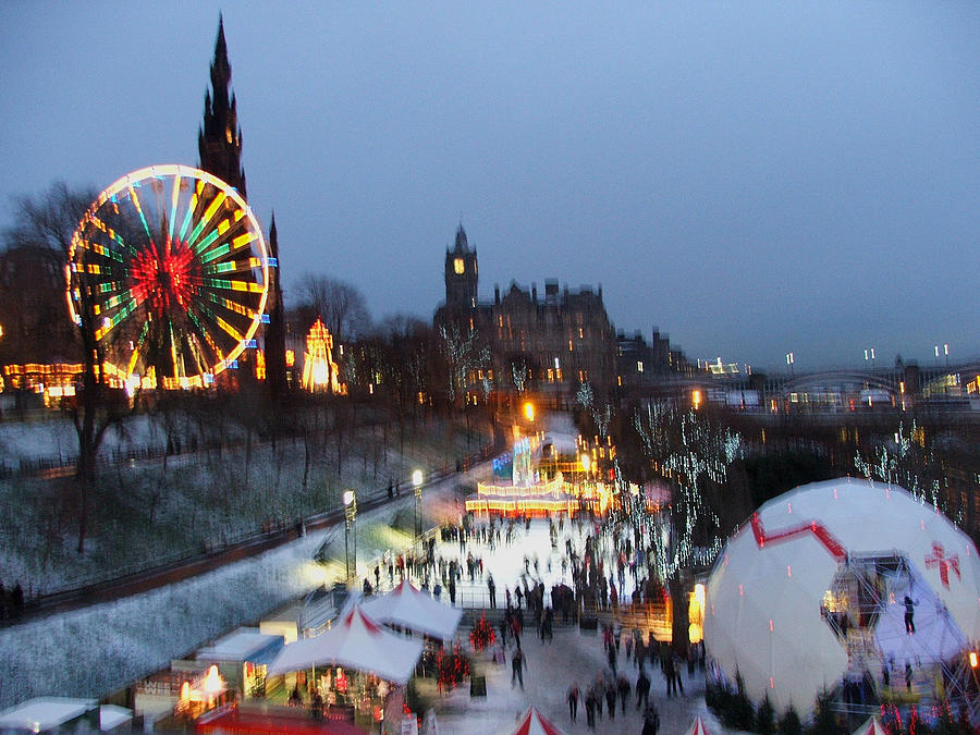 Winter Photograph - Christmas Fair Edinburgh Scotland by Heather Lennox