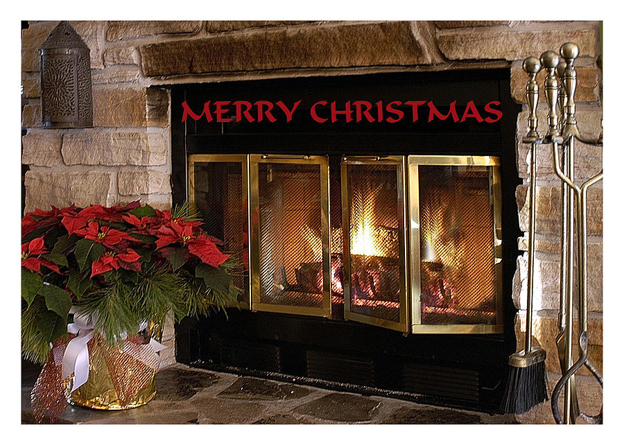 Christmas Fireplace Screen.Christmas Fireplace