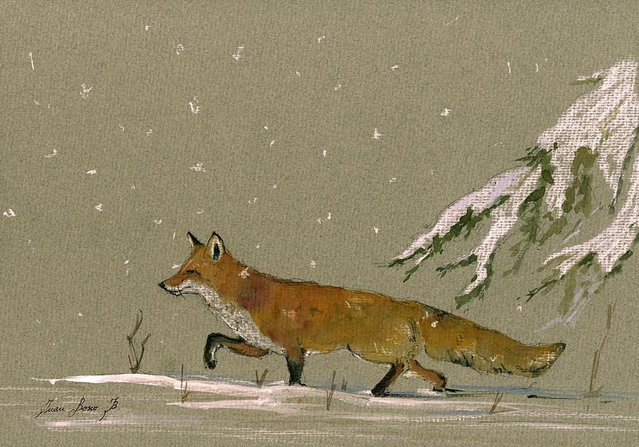 Fox In The Snow Painting - Christmas Fox Snow by Juan  Bosco